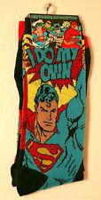 2 Pair Superman Do My Own Stunts New Socks 2015 WB DC Comics Fits 6-12 shoe sz