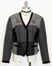 GRAY & BLACK / WOOL & VELVET Trim German Women Riding Dress Suit JACKET 46 16 L