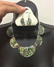 Silver Abalone Shell Moon Multi Pendant Chain Necklace Earrings Charm Paisley