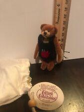 Cottage Collectibles Bronze Bear Blue Jumper Bruno Miniature RTD Bag COA