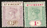 St Vincent 1899 mauve/brown 6d green/carmine 1/- crown CA perf 14 mint SG73/74