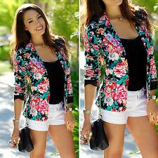 Womens Floral Printed Stylish Casual Slim Suit Jacket Ladies Blazer Tops Outwear