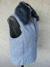 ESPRIT Jacke ärmellos Gr.S 36/38 warm hellblau Fellkragen Weste blau Steppweste