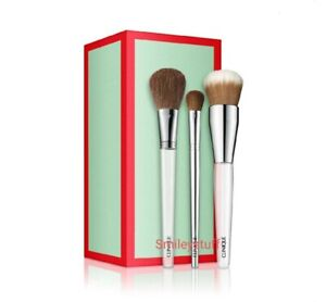 🎁 Genuine CLINIQUE 3 Makeup Brush Gift Set Foundation Blush & Eyeshadow RRP £72
