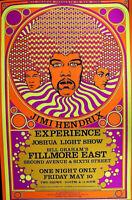 JIMI HENDRIX PSYCHEDELIC 1968 FILLMORE EAST CLASSIC  - Original POSTER SCARCE