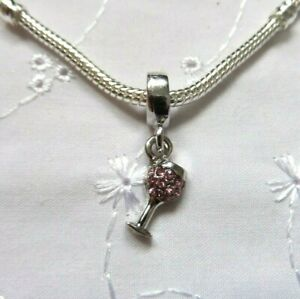 Pink Crystal Pave COCKTAIL GLASS Charm Bead for European Charm Bracelet