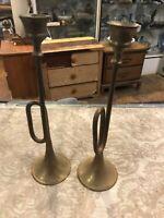 Vintage Pair Brass trumpet Horn Candlesticks Candleholders