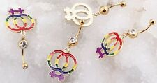 1 GOLD PLATE DOUBLE GEM LESBIAN PRIDE GAY FLAG RAINBOW 14G 7/16 NAVEL BELLY RING