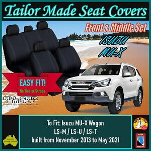 Full Neoprene Black Seat Covers: Isuzu MU-X (MUX) Wagon from 11/2013 to 05/2021