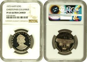 Haiti 1973 Silver Coin 25 Gourdes Proof Christopher Columbus Low Mint. NGC PF65