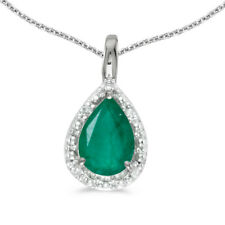"10k White Gold Pear Emerald Pendant with 18"" Chain"