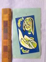 VINTAGE 1970S JAPAN YOKAI MONSTER DIE-CUT CARDBOARD TOY FIGURE GREEN GHOST MINT!