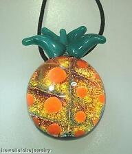 Lampwork Dichroic Color Glass Hawaiian Hala kahiki Pineapple Pendant Adjust #1