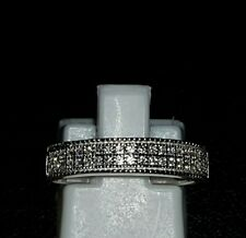 925 STERLING SILVER RHODIUM PLATED SAPPHIRE WEDDING ETERNITY BAND RING
