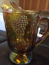 Vtg Indiana Carnival Glass Iridescent Amber Harvest Grape 64oz. Ice Lip Pitcher