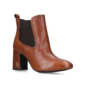 BNIB KURT GEIGER LONDON WOMEN'S BROWN LEATHER MID HEEL ANKLE BOOTS 6/39 RRP £179