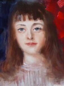 OIL ON BOARD  LADY WITH LONG HAIR ARTIST MARK BARNDEN  FREE SHIPPING ENGLAND
