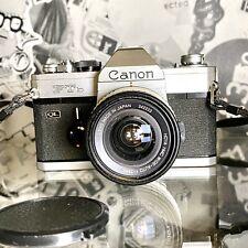 Canon FTb QL 35mm SLR Film Camera 28mm f/2.8 Lens & Flash, Working Film Tested!