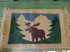4 Vintage Woven Moose Wildlife Cabin Placemats Mats - Fringe