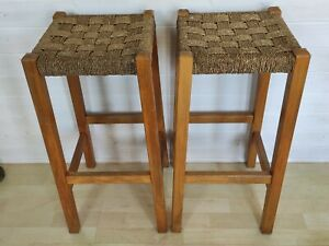 Pair of vintage wooden woven top checked pattern stools kitchen stool retro