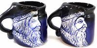Set of 2 Flat Earth Pottery Santa Face Coffee Mugs cobalt blue Signed 1991