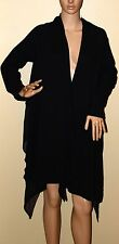 New Weil $485 Black Open Front Silk Detail  Shrug Cardigan Sweater 12 44