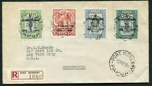 1935 Silver Jubilee Papua set on a  registered cover to the USA
