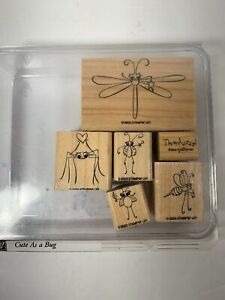 CUTE AS A BUG  Stampin' Up Set of 6 Wood Mounted StampsMosquito Lady Bug Fly