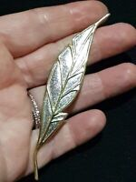 ELEGANT VINTAGE GOLD & SILVER TONE LEAF BROOCH GIFT PIN FLORAL FEATHER QUILL
