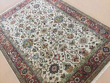 Persian Oriental Rug Serapi Hand Knotted Beige Rust Geometric Wool 5' x 7'