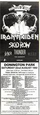 "13/6/92Pgn33 MONSTERS OF ROCK CONCERT ADVERT 1992 15X5"" IRON MAIDEN, SKID ROW, T"
