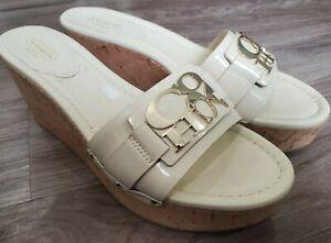 COACH Jen Leather Cork Wedge Platform Slide Sandals Women's Size 10 B Cream