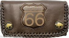 Route 66 Biker Wallet Chain Geldbörse 3D Kette Naked Leather Rockabilly Leder