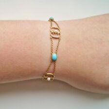 Stunning Victorian Art Nouveau 15ct Gold Turquoise & Pearl set Bracelet c1900