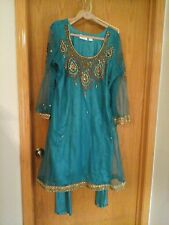 U CARNIVAL women's Indian Fashion, 3 piece suit, green, embroidered, size 48
