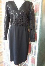 Vtg Evening Dress St John Marie Gray knit Black Rectangular Paillettes sequins