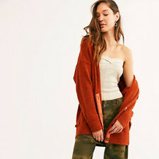 New Free People Eucalyptus Oversized  Cardigan Sweater Rust (small)