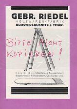 KLOSTERLAUSNITZ, Werbung 1928, Gebrüder Riedel Holz-Waren-Fabrik