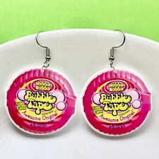 HUBBA BUBBA Bubble Gum Fun Dangle Acrylic Earrings/ Novelty Quirky