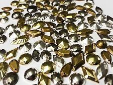75pcs Mixed METALLIC Faceted Acrylic Sew On, Stick on GEMS Studs