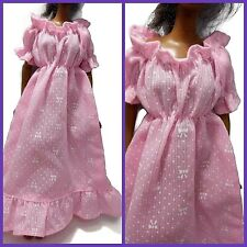 BARBIE GOWN prairie dress PINK white OLD FASHIONED BARBIE DRESS nightgown RUFFLE