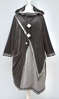 "PLUS SIZE KEKOO ANTHRACITE/GREY IRREGULAR HOODED DRESS/TUNIC BUST 56-58""XXL-XXXL"