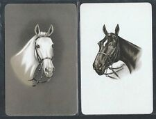 #930.232 vintage swap card -MINT pair- Bridled horse heads, grey & white