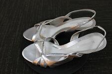 Women's NATURALIZER Silver Leather Slip on Open Toe Summer Sandals Heels 10M