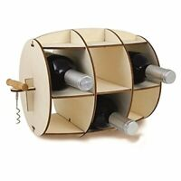 6 Bottle Wooden Barrel Wine Rack Holder & Corkscrew Kitchen Bar Display Storage