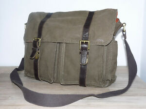 Fossil Tasche, Schulter-/Umhängetasche, Stoff mit Echtleder, gut erhalten