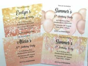 Girls personalised glitter birthday party invitation rose gold balloon pink 13th