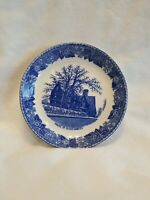 """Old English Staffordshire Ware """"House of Seven Gables"""" Small Blue Ceramic Plate"""