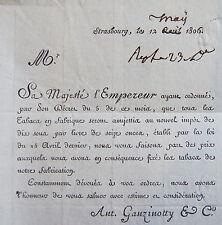 LETTRE GANZINOTTY, PRIX DU TABAC EN FONCTION DE L'IMPOT, 1806,