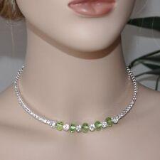Collar Collar cadena color Plata Verde Estrás traje tradicional Dirndl Joya
